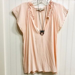 3/$30 Loft pink blouse with ruffle &beaded detail